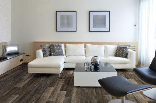 Phòng khách ấn tượng với sàn nhựa giả gỗ